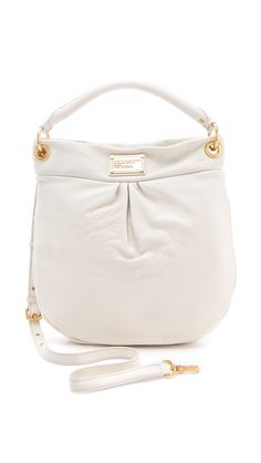Marc By Marc Jacobs Hillier Hobo Leather Shoulder Bag in White (gold)