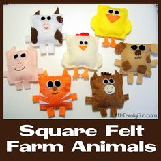 Square Felt Farm Animals! Fun to use when singing Old MacDonald. Children can put felt faces on them. Can also be used for bean bag toss.