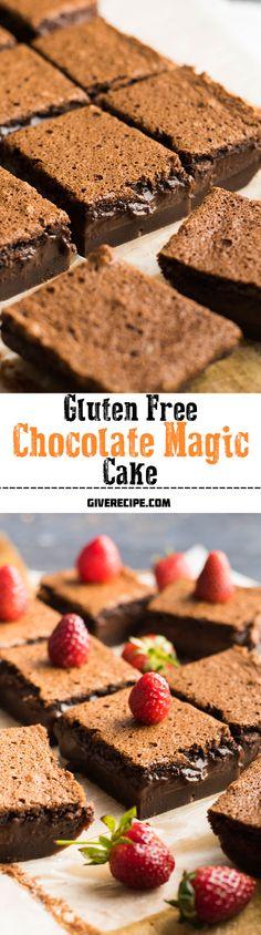 The EASIEST three layered chocolate cake. This chocolate custard cake is gluten-free and really makes the magic. | giverecipe.com | #chocolate #glutenfree