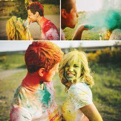 Colorful powder couples photograph