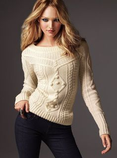 Sweet, cozy and seriously knit-worthy. Boatneck. Can also be worn off the shoulder. Hand-knit look and feel. Imported acrylic/wool.