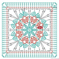 Motifs Granny Square, Granny Square Crochet Pattern, Crochet Diagram, Crochet Squares, Crochet Granny, Crochet Tablecloth Pattern, Crochet Motif Patterns, Crochet Mandala, Knitting Patterns