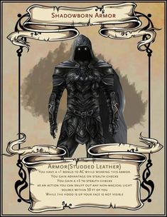 Dungeons And Dragons Classes, Dungeons And Dragons Characters, Dungeons And Dragons Homebrew, Dnd Characters, Fantasy Armor, Fantasy Weapons, Dark Fantasy Art, Magic Armor, Pen And Paper Games