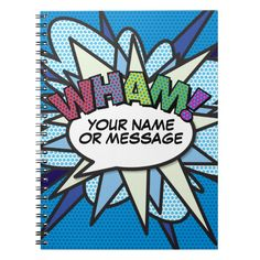 Shop WHAM Your Message Speech Bubble Fun Retro Notebook created by ComicBookPop. Comic Books Art, Comic Art, Pop Art Party, Bubble Fun, Personalised Gifts Unique, Vintage Theme, Comic Styles, Wedding With Kids, Funny Comics