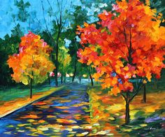 Fall paintings are great in terms of vivid colors. This example of orange bedroom decor is a painting decor on canvas created by Leonid Afremov for those who appreciate this vibrant season. Title: Flame Of Autumn Size: 36 x 30 inches (90 cm x 75 cm) Condition: Excellent Brand new Gallery Estimated Value: $ 4,500 Type: Original Recreation Oil Painting on Canvas by Palette Knife This is a recreation of a piece which was already sold. Its not an identical copy, its a recreation of an old s...