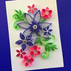 """Flowers are my refuge from all this snow. Title: """"ELECTRIC BLUE"""" 5"""" x 7"""" (13cmx18cm) Quilling, hand crafted paper artwork by Jan and Shannon. For custom orders please contact us at quilling_in_harmony@hotmail.com This image is copyrighted to ©quilling_in_harmony. All rights reserved. Do not reproduce or copy my designs. Thanks so much. #quillinginharmony #quilling #quillingart #paperfiligree #paperart #paper #quilledpaperart #paperquilling #instagram #paperartistcollective #strictlypaperart…"""