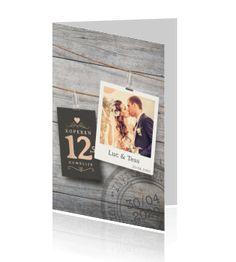 Jubileumkaart uitnodiging 12,5 jaar getrouwd hout