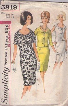 MOMSPatterns Vintage Sewing Patterns - Simplicity 5819 Vintage 60's Sewing Pattern SENSATIONAL Mad Men Jackie O 2 Piece Suit Dress, Scoop Neck Collared Blouse Top, Slim Sheath Skirt Sizse 14. jwt