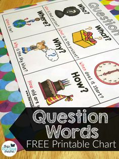 FREE Printable Question Words Chart - This Reading Mama