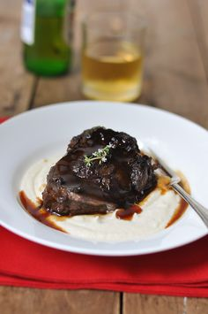 Braised Beef Cheeks with Pedro Ximenez Sherry and Cauliflower Puree. Have had these at MoVida and they are amazing...
