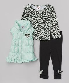 Look at this Misty Jade Ruffle Puffer Vest Set - Infant, Toddler