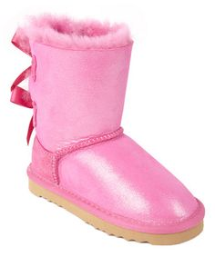 Another great find on #zulily! Fuchsia Iris Mini Bow Shearling Boot #zulilyfinds