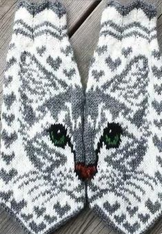 Knitting Socks Cat Yarns Ideas For 2019 Double Knitting Patterns, Knitted Mittens Pattern, Knitted Cat, Knit Mittens, Knitting Charts, Knitted Gloves, Knitting Socks, Free Knitting, Baby Knitting