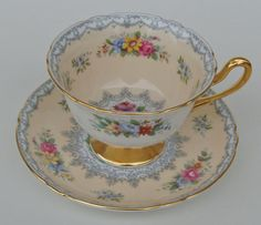 "SHELLEY ""CROCHET"" CHINA CUP AND SAUCER"