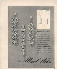 1954 Albert WEISS Rhinestone Earrings to Shoulder Vintage JEWELRY Photo Print Ad