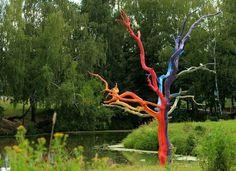Painted dead tree
