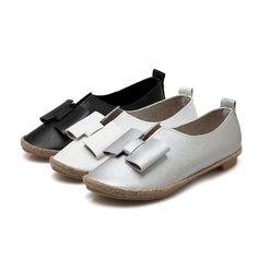 Black, White, Silver Bow Women Flats Casual Plus Size Shoes