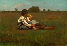 Winslow Homer | Boys in a Pasture, 1874 | The painting depicts two farm boys rest in a field, a quiet moment emblematic of 19th century rural America, brings nostalgia for the happy and innocent times before the Civil War.