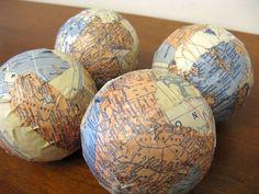 Mod Podge map crafts balls