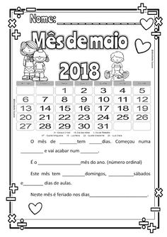 CALENDÁRIO DE MAIO Days And Months, Months In A Year, Math Games, Professor, Worksheets, School, Blog, Junho, Mother's Day Activities