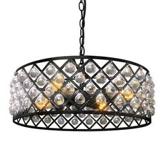 LNC  Industrial Vintage 4 Light Metal Crystal Pendant Light Fixture Matte Black Chandelier