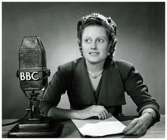 Talks producer, author, and journalist Nina Consuela Epton, BBC North American Service, with a BBC-Marconi microphone in a photograph dated September 21, 1951.
