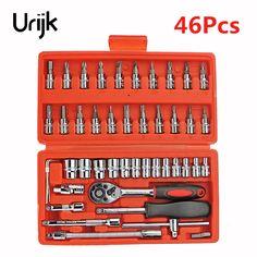 Urijk 46Pcs Household Hand Tool Set Wrench Socket Ratchet Kit Box CRV Combination Quick Auto Repairing Electric Metalworking  #Affiliate