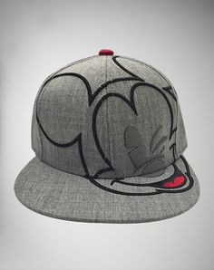 Grey 3D Embroidered Mickey Mouse Snapback Hat