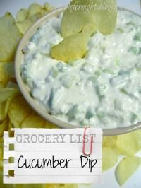 Cucumber Dip: Ingredients 3 1/2    cups    cucumber ( chopped )  1/2    cup    onion ( chopped )  24    ounces    cottage cheese ( small curd )  1    cup    mayonnaise  1/2    teaspoon    seasoning salt ( accent seasoning )  Directions In a large bowl; stir all ingredients together. Serve with potato chips or crackers.