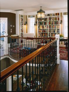 I love the idea of this landing reading nook - Southern Living Idea House, Charleston. Style At Home, Casa Loft, Southern Living Homes, Pine Floors, Home Libraries, House Goals, Design Case, Design Design, Home Fashion