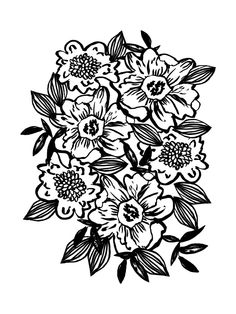 Ella - abstract floral flowers minimal modern black and white girly gender neutral boho painting Art Print