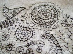 Free hand stitching ~ I love how she used what appears to be a single stand ... looks like a delicate sketching. ~ ♥