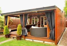 Pimped up shed: Jez Walter spent turning his garden shed into a luxury retreat with a pool table, bar, home cinema and jukebox. backyard shed Outdoor Rooms, Outdoor Living, Outdoor Sheds, Outdoor Lounge, Pub Sheds, Backyard Bar, Building A Shed, Building Plans, Home Cinemas