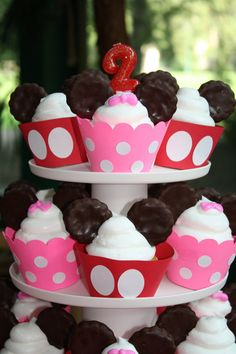 Mickey Mouse Birthday Minnie Mouse Birthday Cupcake wrappers Cupcake Toppers. $12.00, via Etsy.