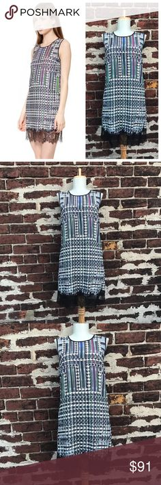 Clover Canyon S Houndstooth Lace Trim Shift Dress You're looking at a beautiful dress by Clover Canyon! Trinity College print.   Size small   Polyester with nylon trim   Wonderful, gently preloved condition! Clover Canyon Dresses