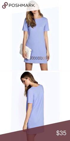 Periwinkle Cut Out Shift Dress Super cute dress perfect for weddings, Sorority  events, or even casual brunch. Bought for recruitments but didn't end up wearing. True to size and even fits smaller for a boxy look. Not Zara, Boohoo. NWOT Zara Dresses Mini