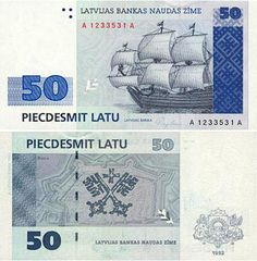 latvijas 50 latu Latvian Banknotes