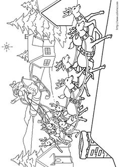 Santa And Reindeer Find This Pin More On Christmas By CATHERINE Coloring Pages