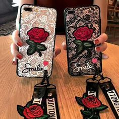 Buy New High Quality Fashion Rose Coque Lace Transparent Phone Case with Strap for IPhone X 6 7 8 Plus 5 SE Samsung Galaxy Plus Edge Mobile Shell at Wish - Shopping Made Fun Iphone 7, Apple Iphone 6, Iphone 8 Plus, Iphone Cases, Galaxy Note, Girl 3d, Rose Phone Case, 3d Rose, Rose Lace
