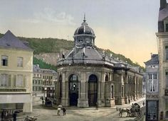 Pouhon, Spa, Belgium. Photochrome 1890-1900 Since at least the 14th century travelers journeyed to Spa for the famed healing mineral waters. Charles ll put his royal stamp of approval on the town when he visited in the 17th century and well healed nobility followed. During the 18th century gambling was a favorite pastime and casinos were established in Spa thus giving the locale an even wider appeal as a holiday destination.