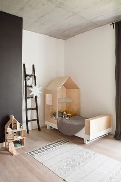 kids bedroom with plywood bed