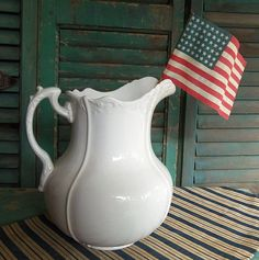 antique white english  ironstone pitcher