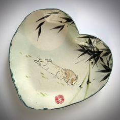 Sweetheart bunny dish with bamboo in high-fire stoneware by Tracie Griffith Tso Bunny Rabbits, Stoneware, Bamboo, Dish, Chinese, Pottery, Symbols, Ceramics, Handmade