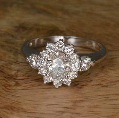 Handmade Art Deco Diamond Flower Engagement Ring 14k by JdotC