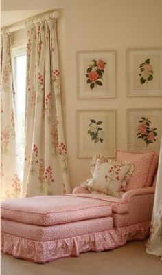 I love this kind of feminine chic! From the flower prints on the wall to the fantastic drapes to the chair perfect for reading or homework
