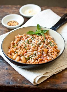 Farro Risotto with Cannellini and Basil