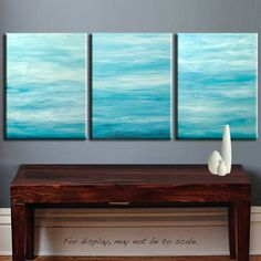Original Large Abstract Landscape Seascape Contemporary Fine Art - Huge 48x20 - Shades of TURQUOISE BLUE Painting by Marie