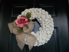 """16""""  Off White Color Burlap Wreath/ Pink Rose Wall Decor, Door Wreath , Wedding Decor, cottage wreath, Mothers Day by cindidavis1 on Etsy https://www.etsy.com/listing/116961182/16-off-white-color-burlap-wreath-pink"""