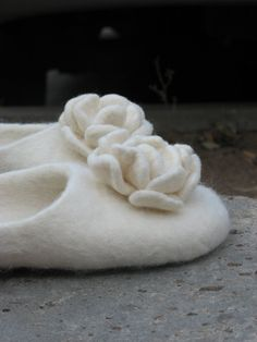 Elegant white felted slippers White words by TapuTapu on Etsy, $70.00