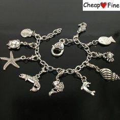 Tibetan Silver Sea Animal turtle fish DIY Charms Stainless Steel Chain Bracelet US $5.70